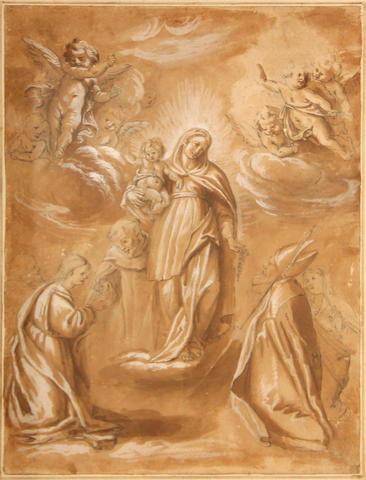 Flemish School 17th C., The assumption, drawing