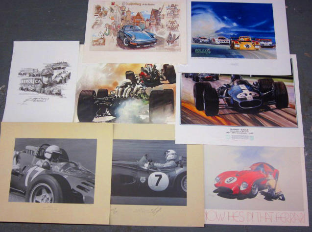 A grouping of various artist signed posters and prints,