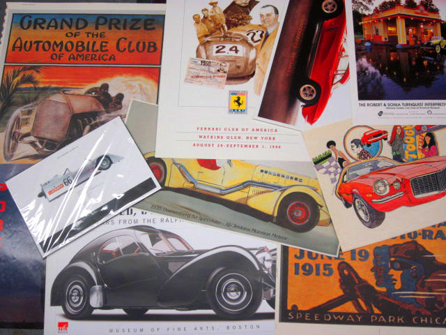 A mixed grouping of different Auto marque posters and advertising,
