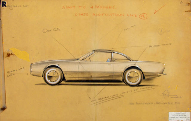 A Raymond Loewy Studabaker Avanti concept drawings, March 1961,