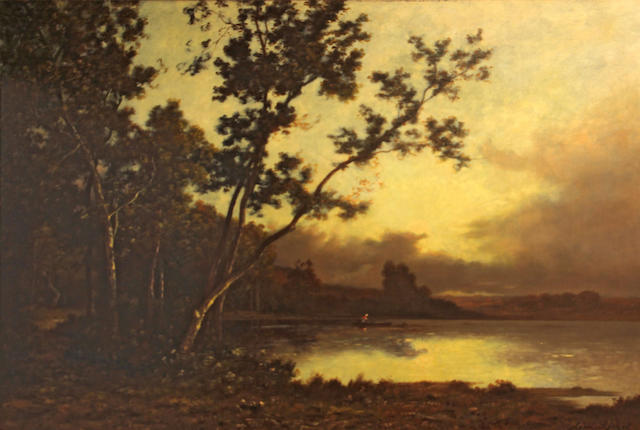 Leon Richet (French 1847-1907), Boat on a lake in a wooded landscape, signed l/r: Leon Richet, o/c, 22 x 32in