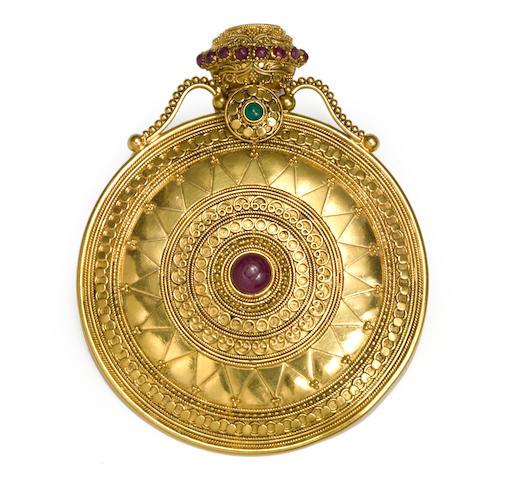 A ruby, emerald and twenty-two karat gold pendant/brooch