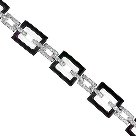 A black onyx, rock crystal and diamond bracelet, Eli Frei
