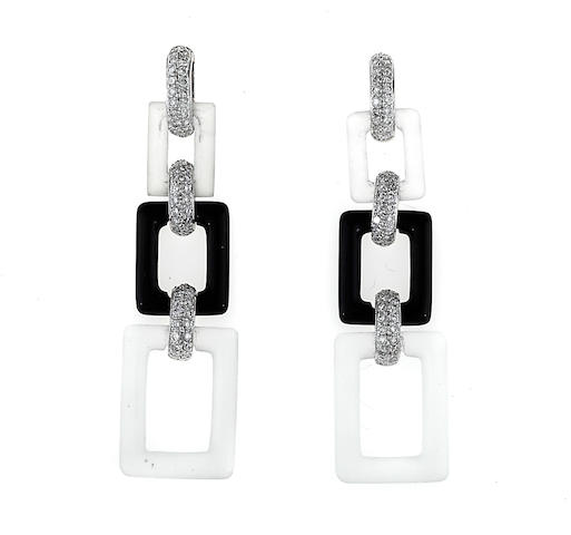 A pair of rock crystal, black onyx and diamond earrings, Eli Frei