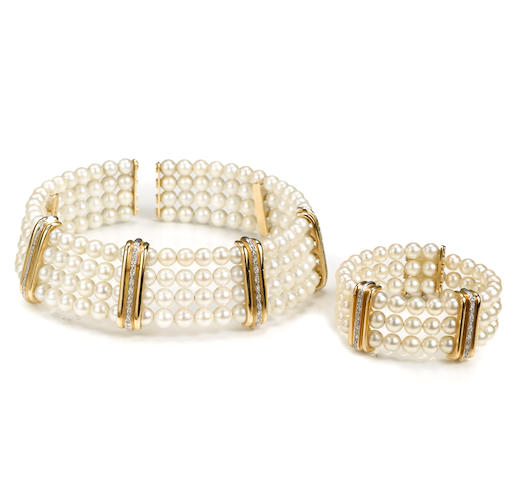 A cultured pearl and diamond four-row choker necklace together with a matching three-row bangle bracelet