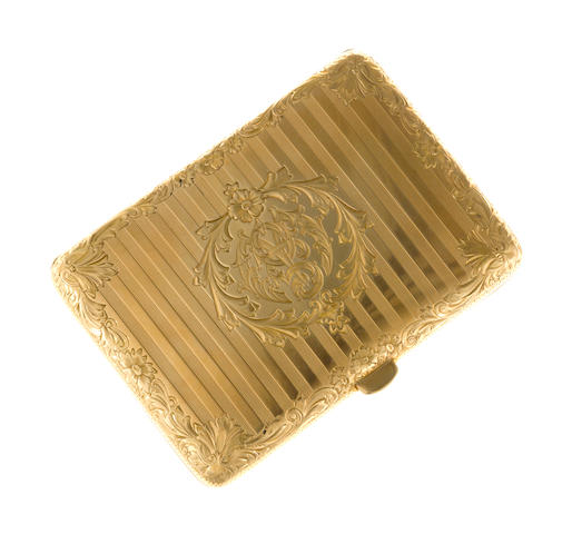 A fourteen karat gold cigarette case