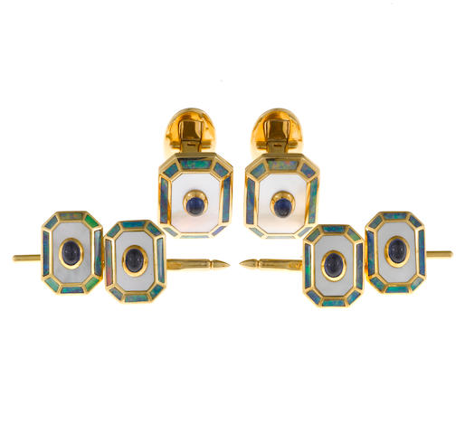 A sapphire, mother-of-pearl and opal gentleman's dress set