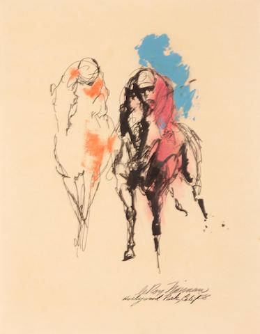 LeRoy Neiman (American, born 1921) Horse racing, 1958 10 x 7 3/4in