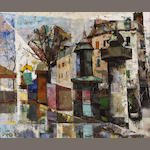 Oliver Foss (French, born 1920), Abstract street scene, signed (lower left), oil on canvas, 18 x 21in