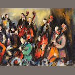 Dan Lutz (American, 1906-1978), Orchestra, signed (lower right), oil on canvas, 12 x 16in