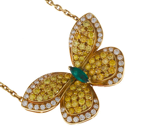 A colored diamond, diamond and emerald butterfly pendant/necklace, Van Cleef & Arpels, French