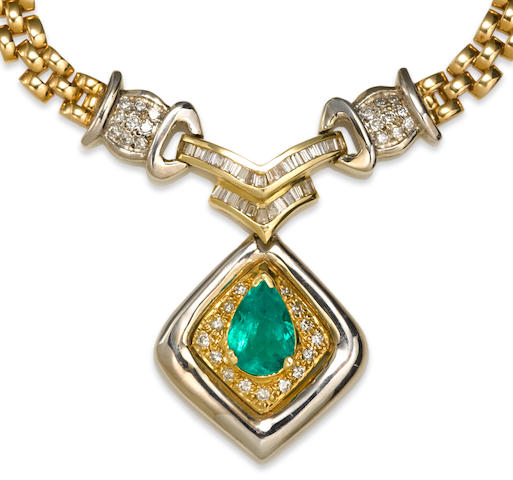 An emerald and diamond necklace