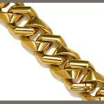 An eighteen karat gold heavy curb link necklace