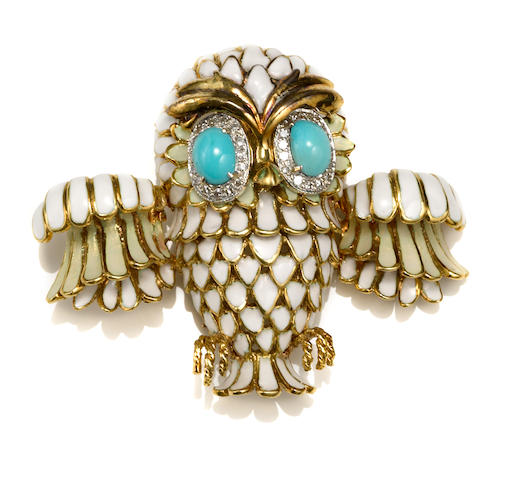 An enamel, turquoise and diamond owl brooch