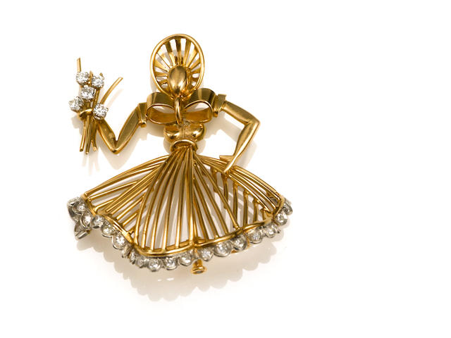 A diamond, eighteen karat gold and platinum figural brooch, Cartier, Paris