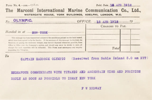 TITANIC DISASTER—MARCONI MESSAGE #6. Typed Marconi message from the R.M.S. Olympic radio log book, 1 p, oblong 8vo (140 x 200 mm), New York, April 15, 1912, 5 a.m. EST, to Captain Haddock of the Olympic encouraging him to communicate with the Titanic,