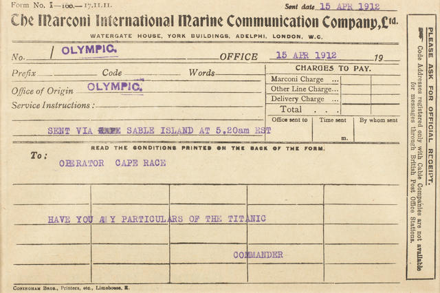 [TITANIC] Marconi message: 7. Olympic to Sable Island for Cape Race  5-1/2 x 8 in. (14 x 20 cm.)