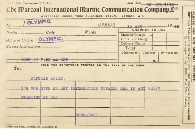 [TITANIC} Marconi message 10. Olympic to Asian 5-1/2 x 8 in. (14 x 20 cm.)