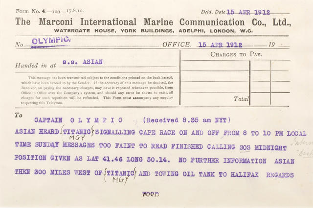 [TITANIC] Marconi message: 11. Asian to Olympic 5-1/2 x 8 in. (14 x 20 cm.)