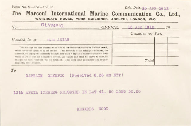 [TITANIC] Marconi message: 12. Asian to Olympic 5-1/2 x 8 in. (14 x 20 cm.)