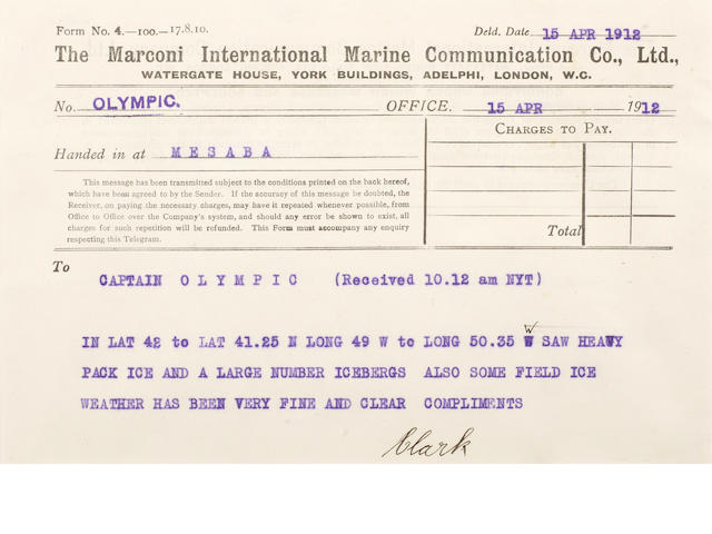 [TITANIC] Marconi message: 14. Mesaba to Olympic 5-1/2 x 8 in.(14 x 20 cm.)