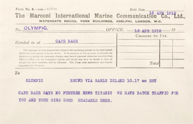 [TITANIC] Marconi message 15: Sable Island to Olympic 5-1/2 x 8 in.(14 x 20 cm.)