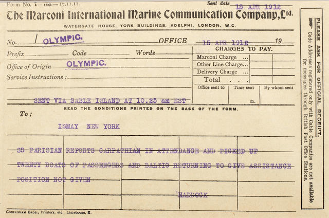 [TITANIC] Marconi message: 16. Olympic to Sable Island for New York 5-1/2 x 8 in.(14 x 20 cm.)