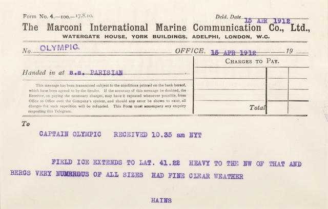 TITANIC DISASTER—MARCONI MESSAGE #17. Typed Marconi message from the R.M.S. Olympic radio log book, 1 p, oblong 8vo (140 x 200 mm), New York, April 15, 1912, 10:35 a.m. EST, sent by the Commander of the Parisian to the Commander of the Olympic, reporting that they too have seen several icebergs in the vicinity, in full: