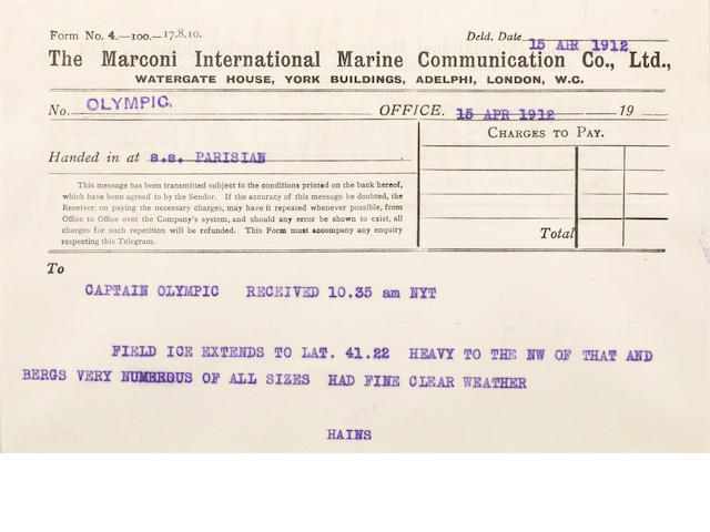 [TITANIC] Marconi message: 17. Parisian to Olympic 5-1/2 x 8 in.(14 x 20 cm.)