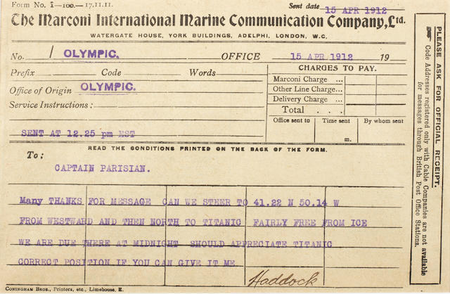 [TITANIC] Marconi message: 18. Olympic to Parisian 5-1/2 x 8 in.(14 x 20 cm.)