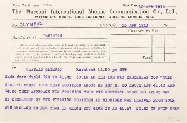 [TITANIC] Marconi message: 19. Parisian to Olympic 5-1/2 x 8 in.(14 x 20 cm.)