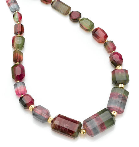 Exceptional Multi-color Tourmaline Necklace