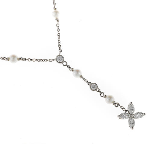 "A diamond and cultured pearl ""Victoria"" necklace, Tiffany & Co."