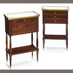 A pair of Directoire mahogany bedside tables