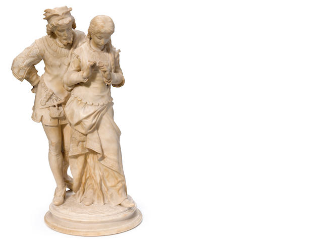An Italian carved alabaster figural group <BR />circa 1900
