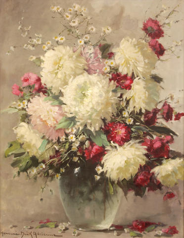 Adrienne Henczné Deák (Hungarian, 1890-1956) Still life with flowers 29 1/2 x 23in