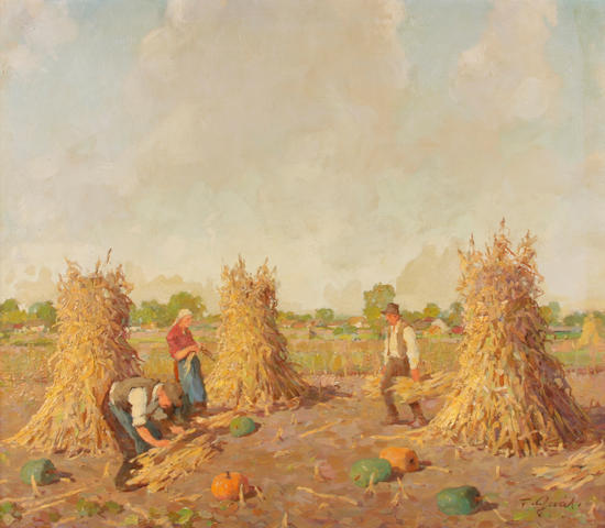 Ferenc Gaal (Hungarian, 1891-1956) Kukorica-törés 27 x 31 1/4in