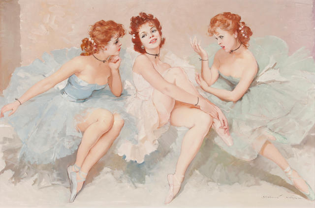 Maria Szantho (Hungarian, 1898-1984) Three ballerinas 24 x 36in