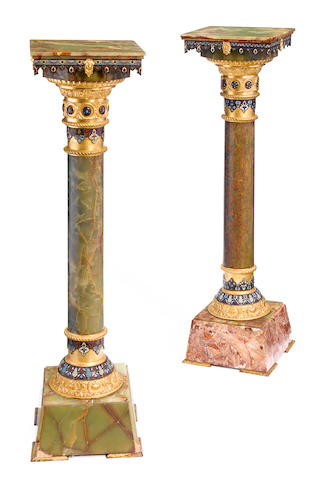 A near pair of French gilt bronze mounted champlevé, onyx and marble pedestals  late 19th century