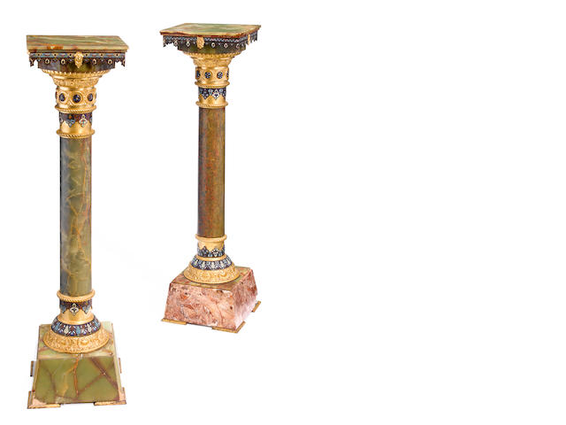 A near pair of French gilt bronze mounted champlevé <BR />late 19th century