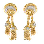 A pair of diamond and eighteen karat bicolor tassel motif earclips, Tiffany & Co.
