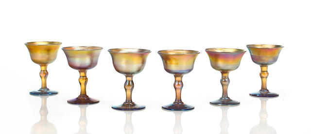 Six Tiffany Studios Favrile glass goblets circa 1910
