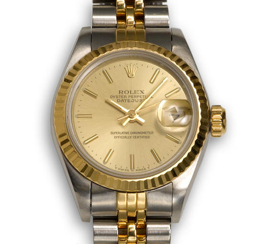 A stainless steel and eighteen karat gold wristwatch, Rolex