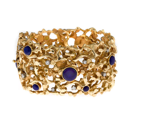 A lapis lazuli and diamond bangle bracelet