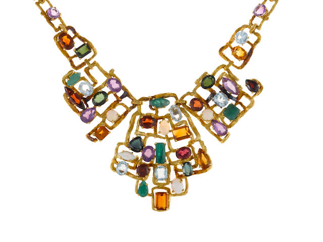 A gem-set bib necklace