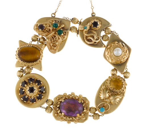 A gem-set, hardstone and fourteen karat gold slide bracelet