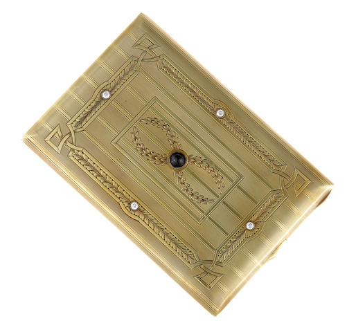 A diamond, sapphire and fourteen karat gold cigarette case