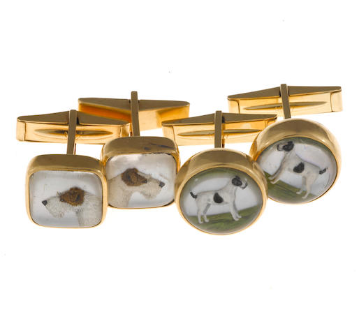 Two pairs of reverse painted rock crystal and fourteen karat gold cufflinks