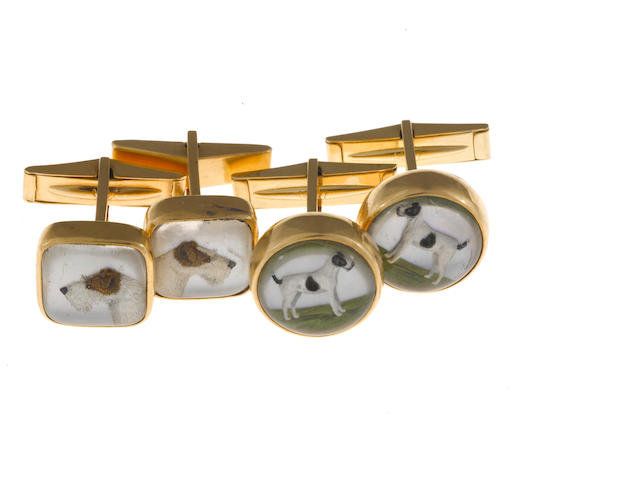 Two pairs of reverse painted rock crystal and 14k gold cufflinks