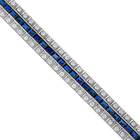 A diamond and synthetic sapphire bracelet